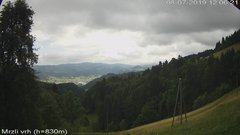 view from VREME ŽIRI-cam-3-VZHOD-Mrzli vrh on 2019-07-08