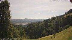 view from VREME ŽIRI-cam-3-VZHOD-Mrzli vrh on 2019-07-17