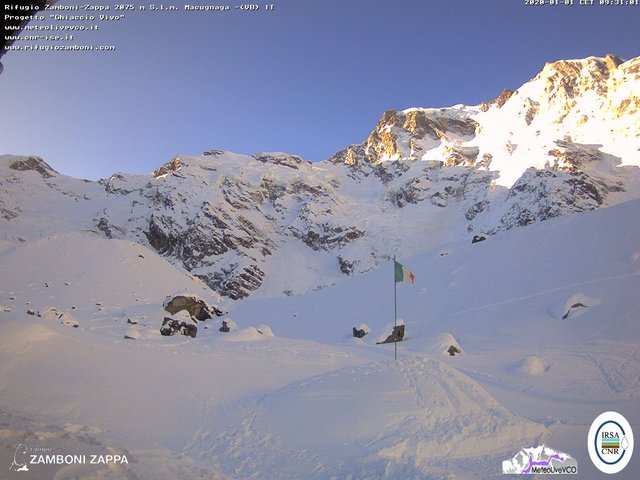 time-lapse frame, Valanga del 1 gennaio 2020 webcam